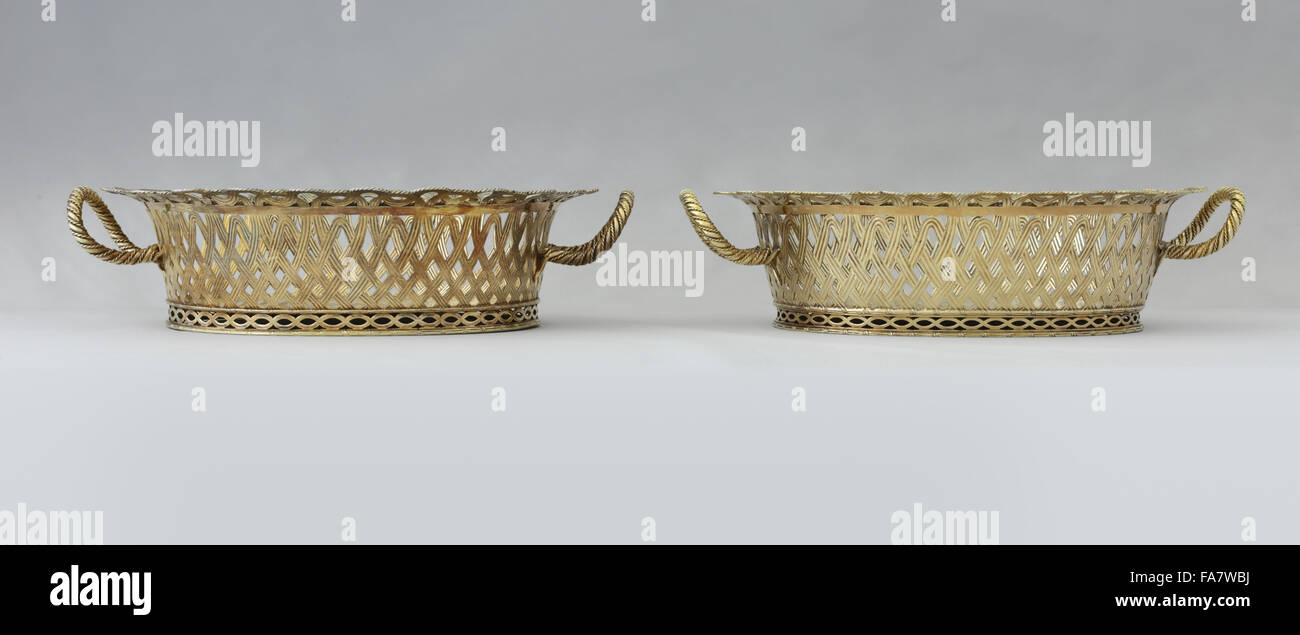 Pair of baskets by Frederick Kandler, 1768, part of the silver collection at Ickworth, Suffolk. National Trust inventory - Stock Image