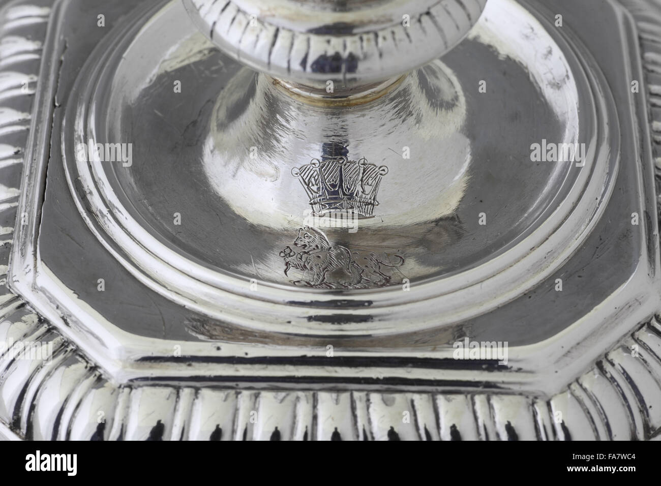 Crest on the base of a candlestick by Isaac Liger, 1695, part of the silver collection at Ickworth, Suffolk. National - Stock Image