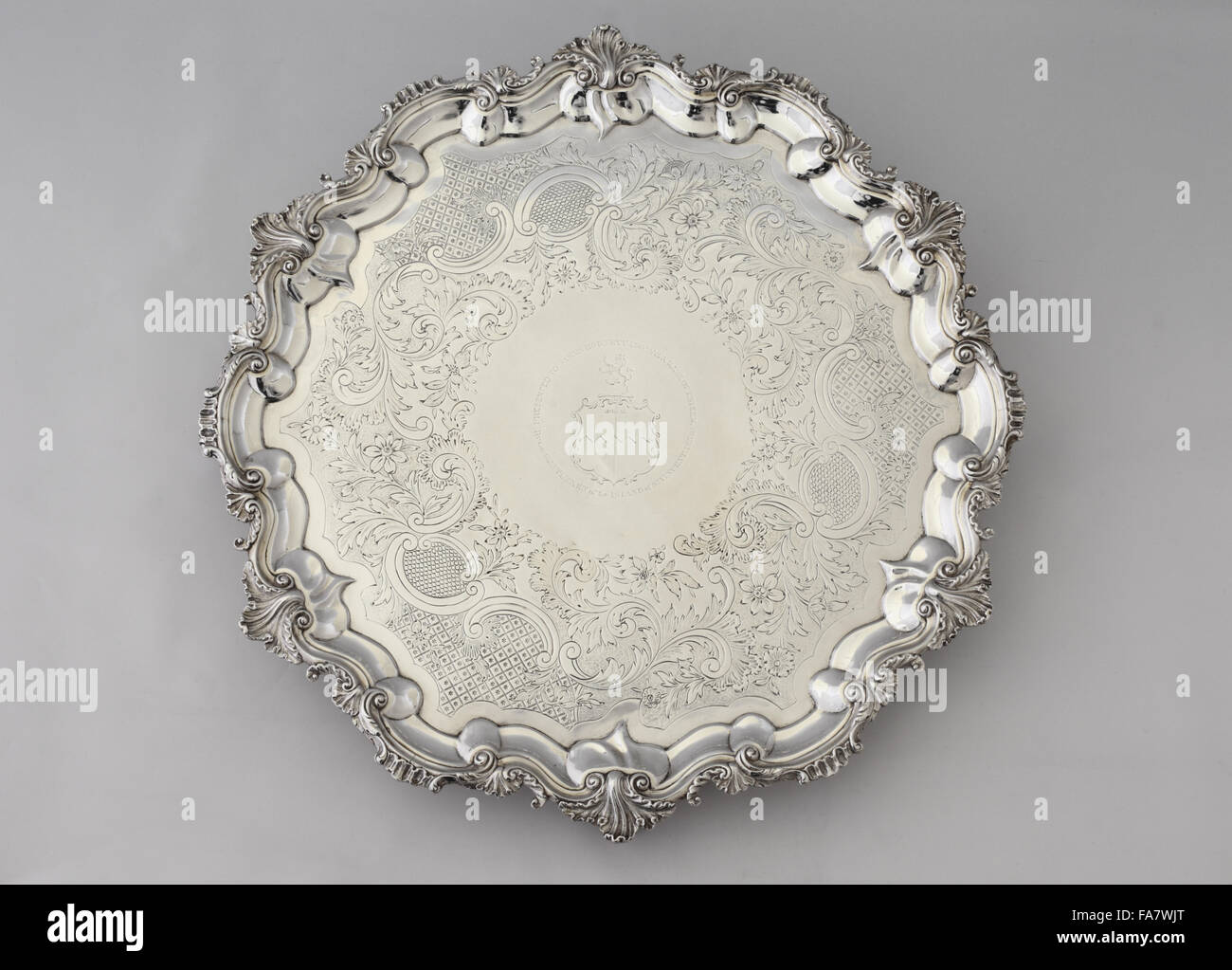 A salver presented to James Hodnett, 1836, part of the silver collection at Ickworth, Suffolk. National Trust inventory - Stock Image