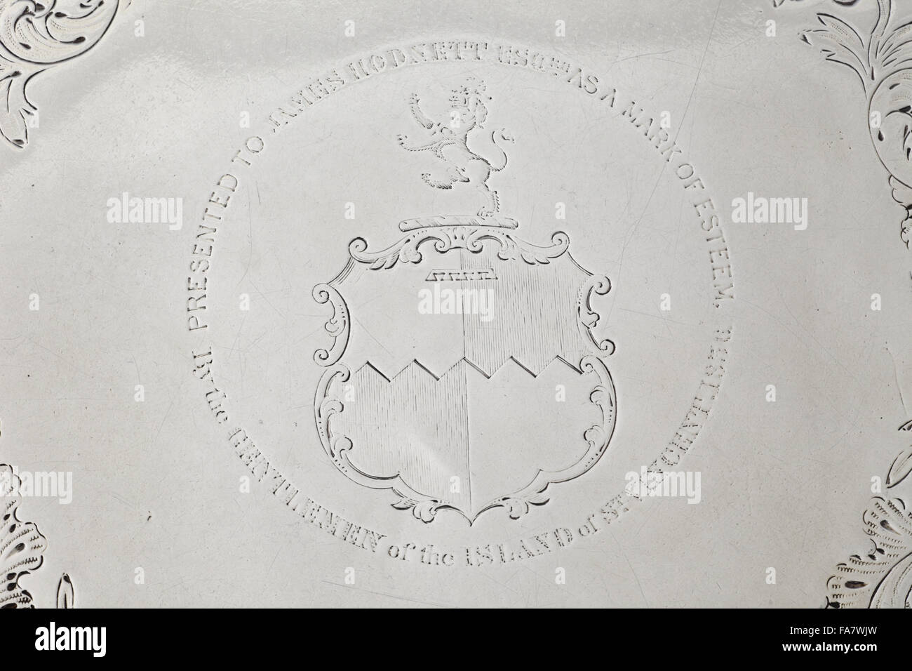 Crest on a salver presented to James Hodnett, 1836, part of the silver collection at Ickworth, Suffolk. National - Stock Image