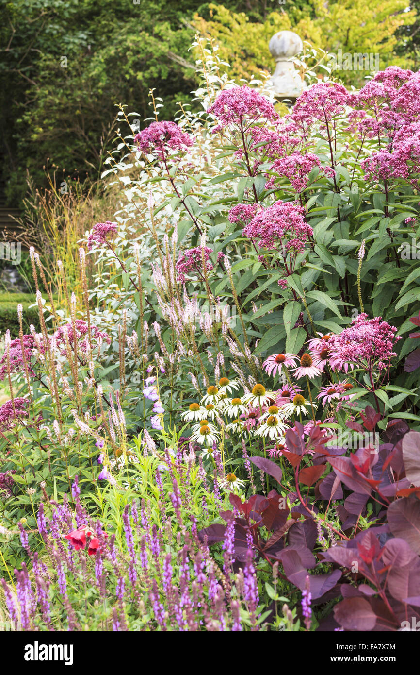 A late summer (September) border at Bodnant Garden, Conwy, Wales. Colour is provided by flowering perennials including Stock Photo