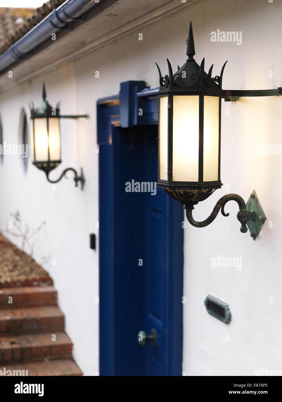 Lamps on either side of the front door, Portland Place  The