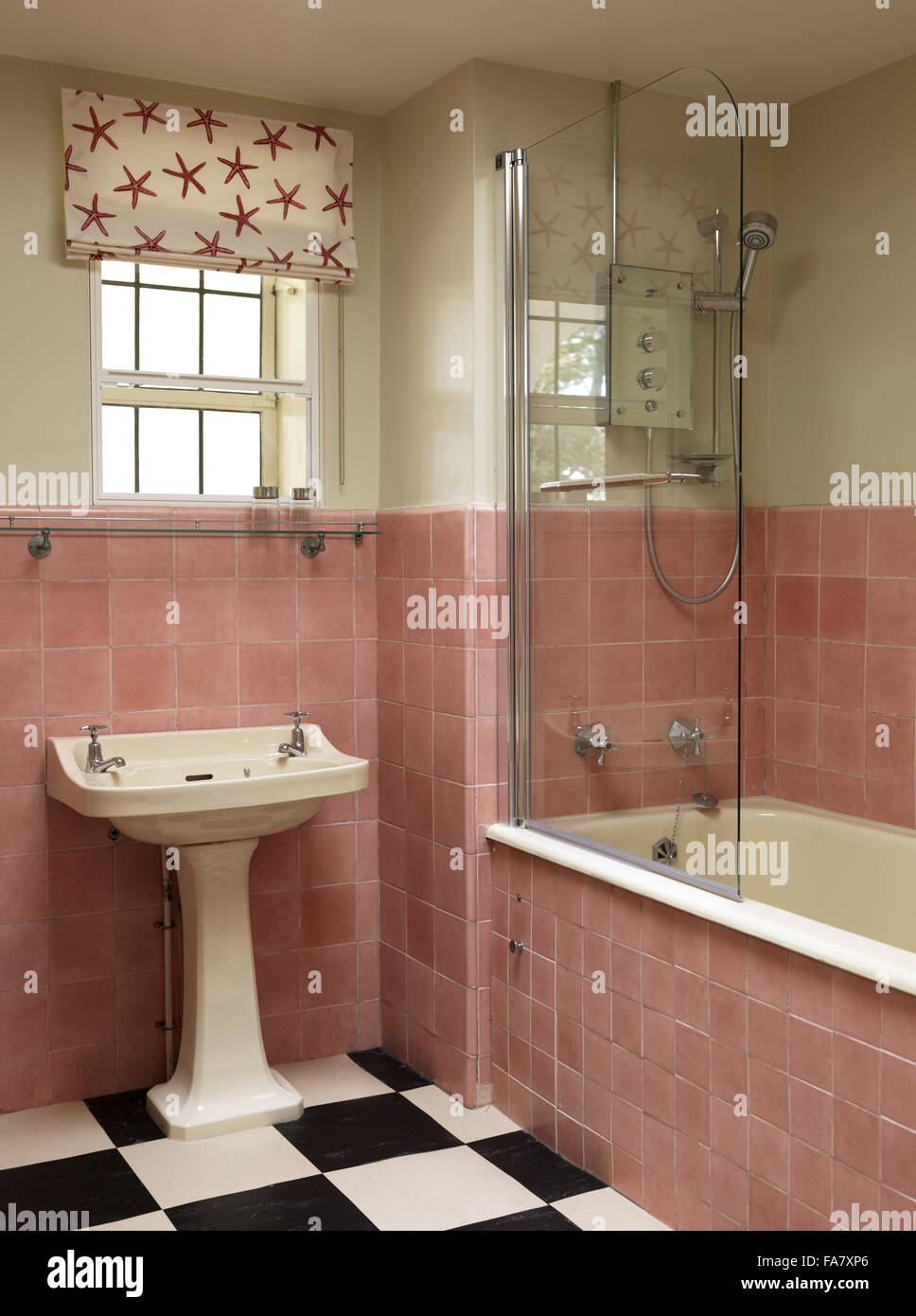 Detail of Geoffrey Bushby's bathroom, Portland House, Dorset. The house was built in 1935 for Geoffrey Bushby - Stock Image