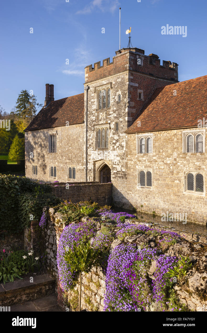Aubrieta and The West Front of Ightham Mote, Kent. Stock Photo