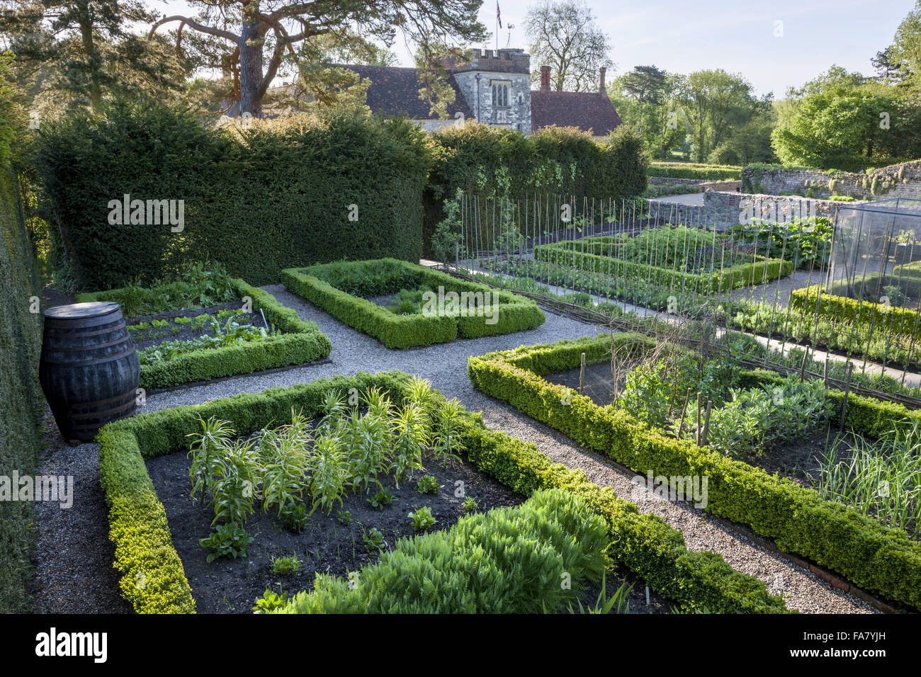 The vegetable garden at Ightham Mote, Kent. - Stock Image