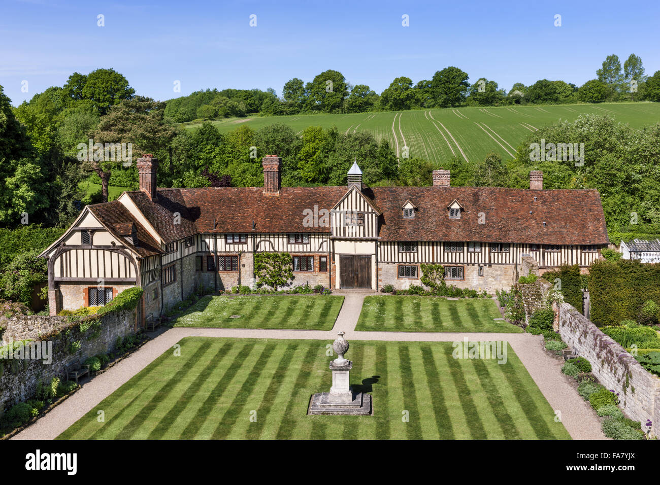 The cottages taken from the tower at Ightham Mote, Kent Stock Photo
