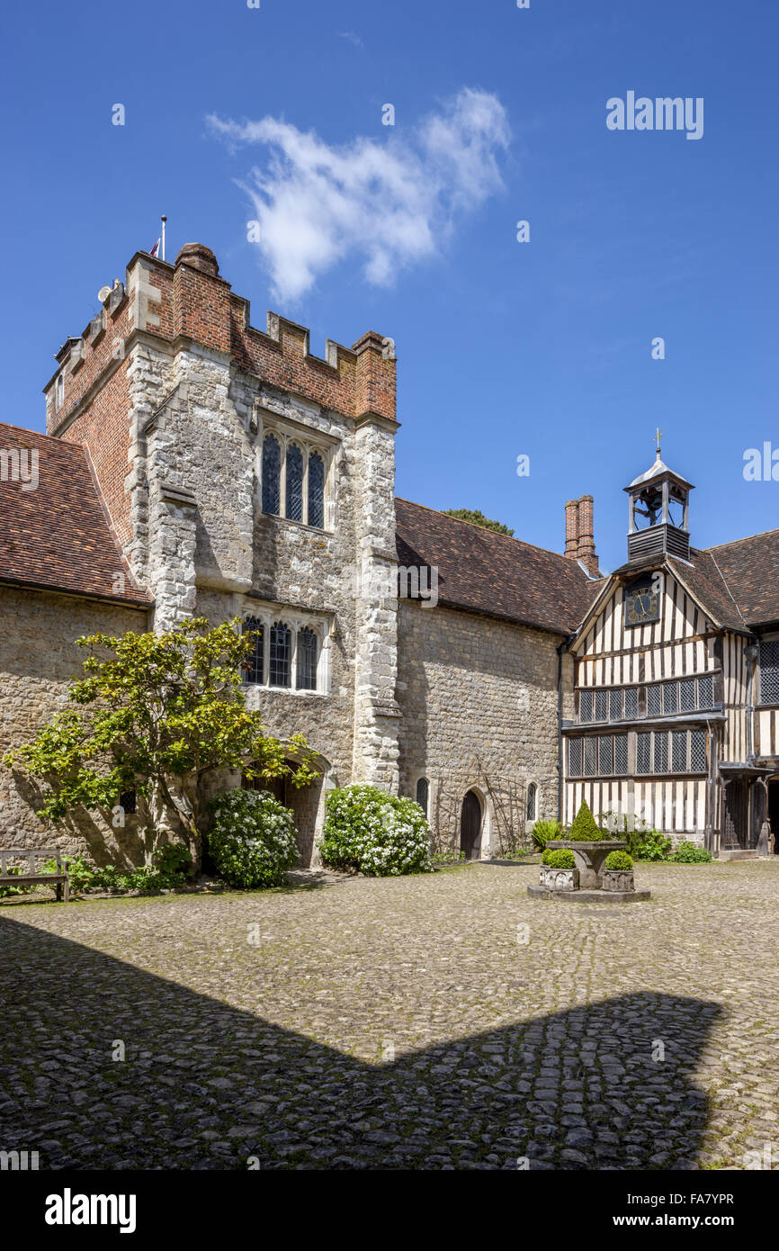 The tower viewed from the courtyard at Ightham Mote, Kent. - Stock Image
