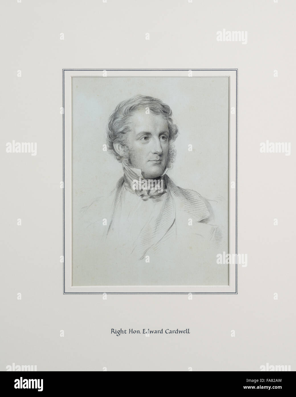 EDWARD CARDWELL, FIRST VISCOUNT CARDWELL DCL, PC, (1813-1886) by George Richmond RA, at Killerton, Devon. Paper, - Stock Image