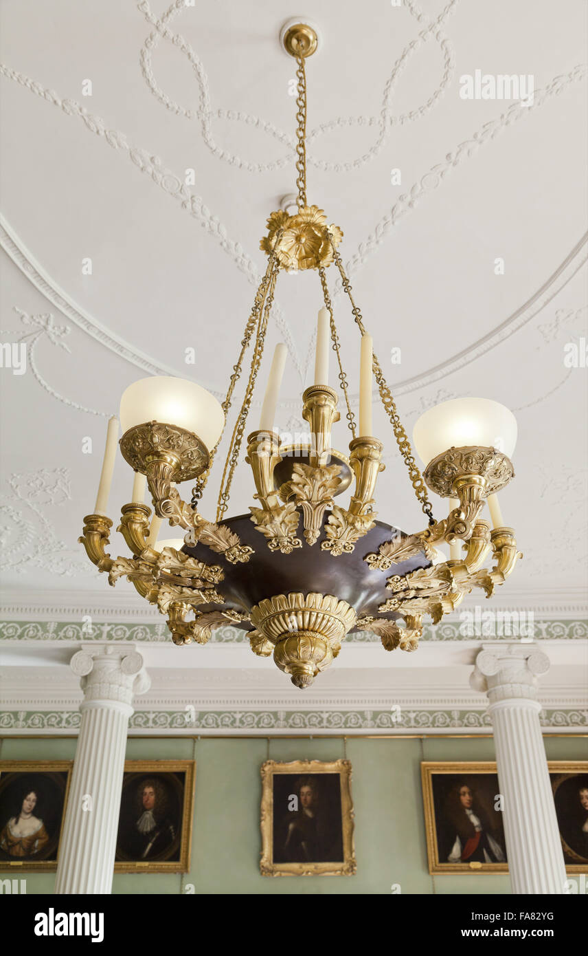 Ornate Early 19th Century French Chandelier In The Dining Room At Killerton  House, Devon. This Metal Bowl Chandelier Dates From The French First Empire  ...