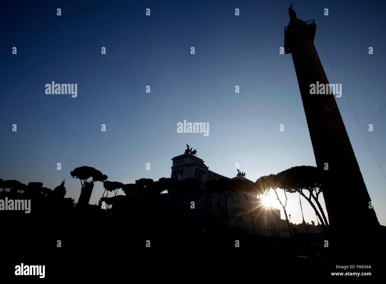 Rome 23th December 2015. Trajan Column. Photo Samantha Zucchi Insidefoto - Stock Image