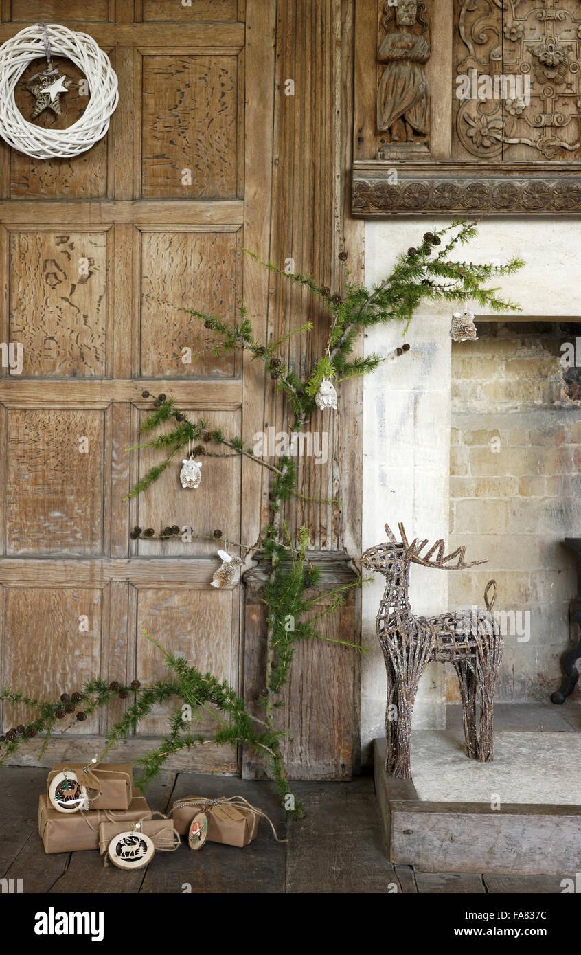 White Twig Wreath Glittery Bristle Animal Christmas Tree Stock