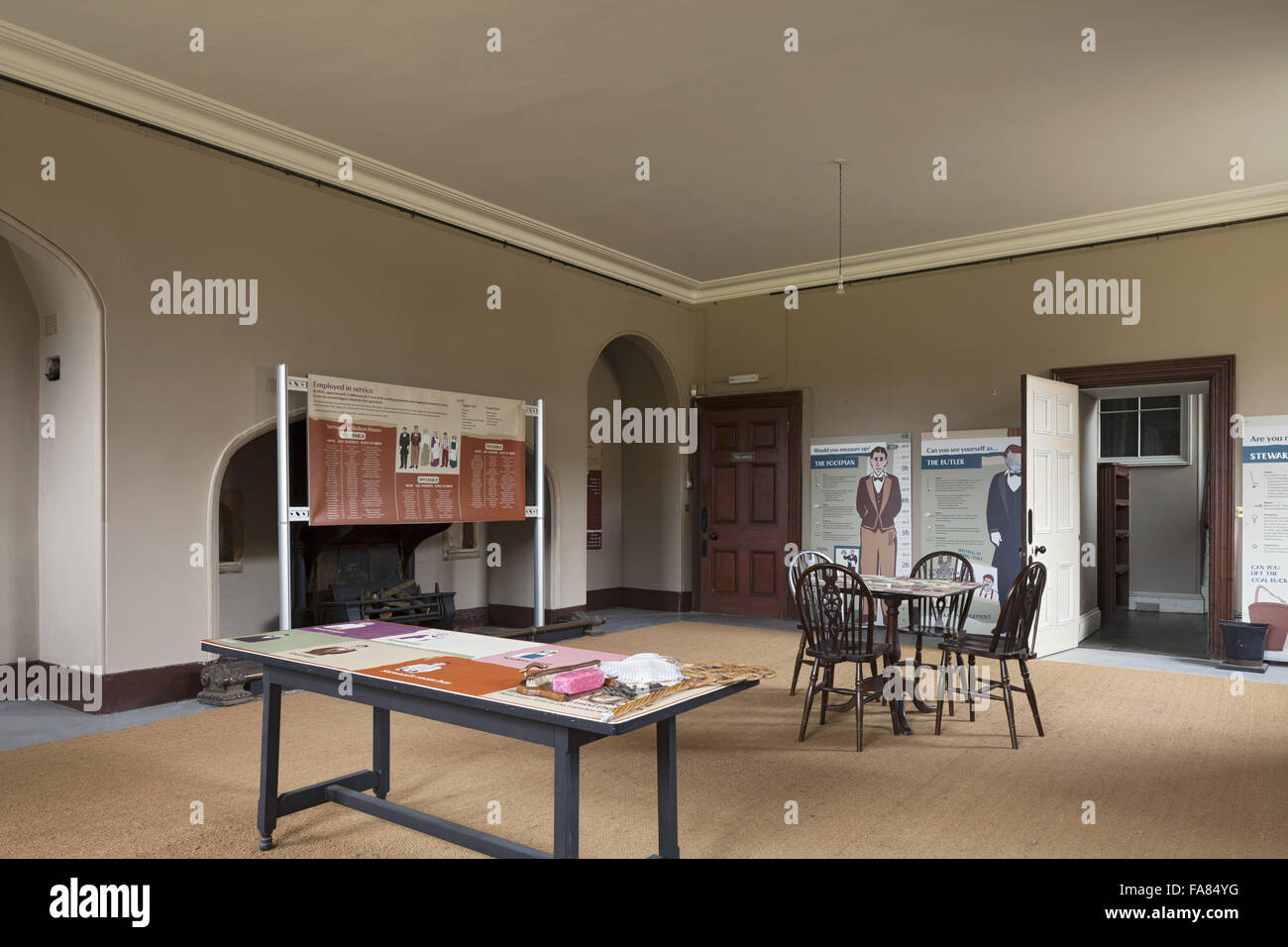 Exhibition and interpretation panels in the Billiard Room at Belton House, Lincolnshire. - Stock Image