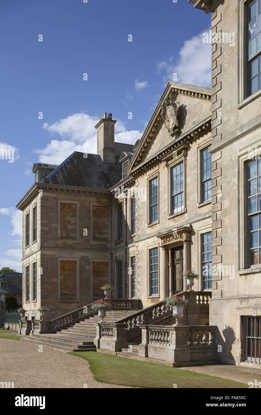 Oblique view of the south front of Belton House, Lincolnshire. The house was built in the 1680s and its designer - Stock Image