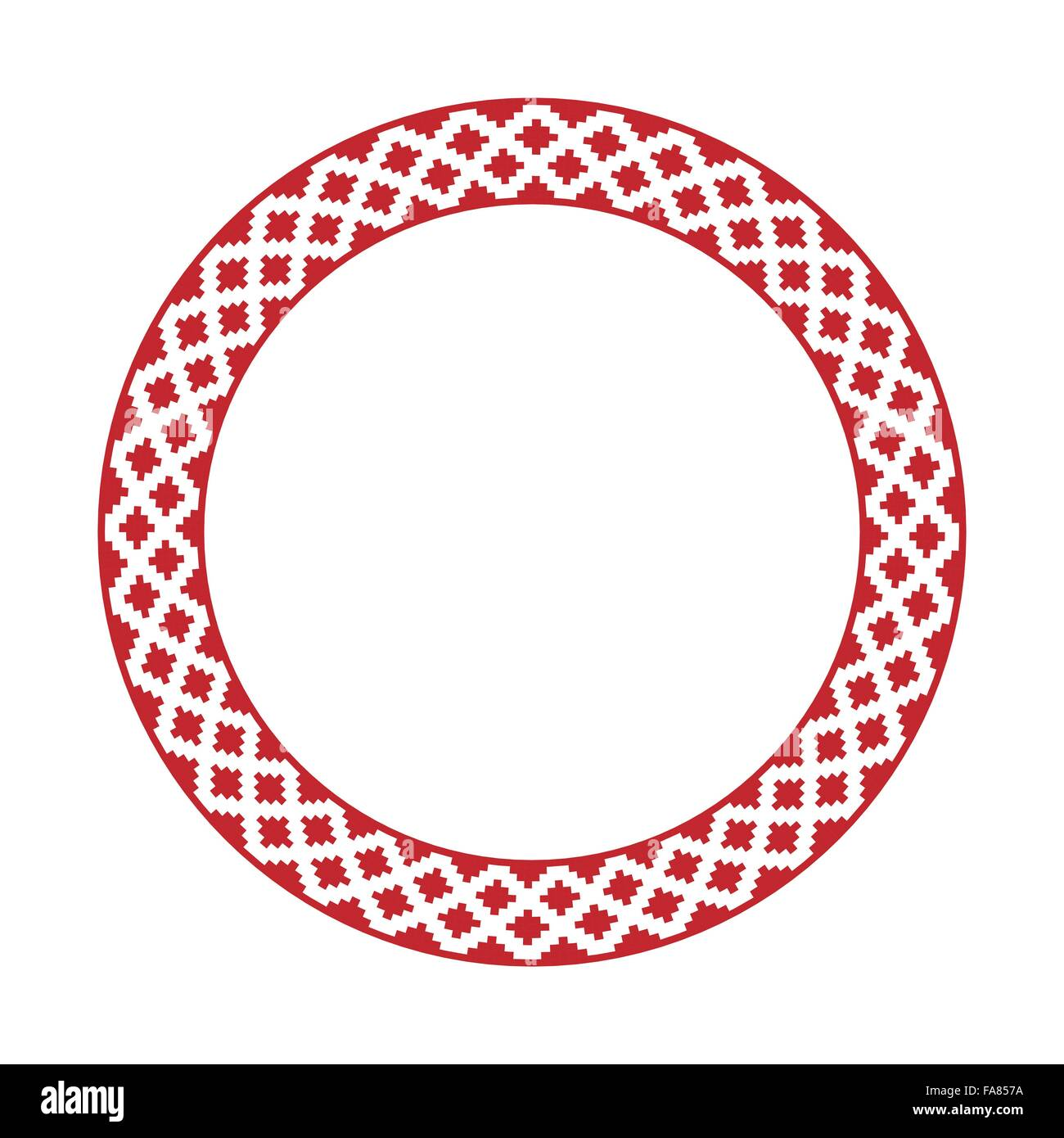 Vector illustration of traditional Slavic round embroidered pattern - Stock Image