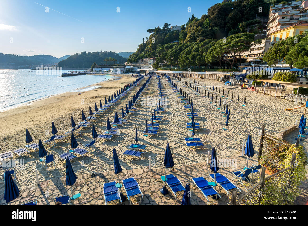 sunset view of beach and Gulf of Poets in Lerici, Italy. - Stock Image