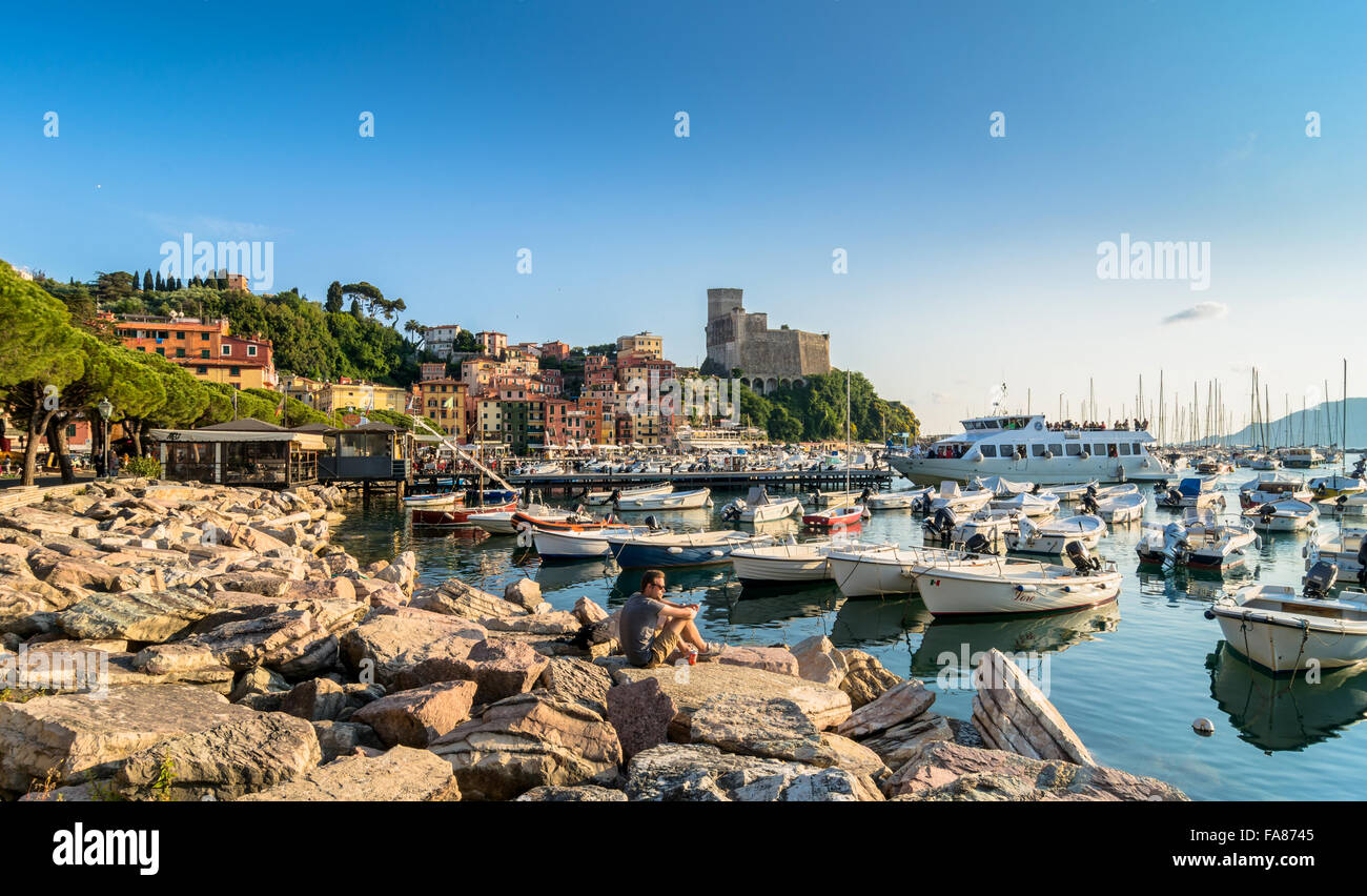 sunset view of port and Gulf of Poets in Lerici, Italy. - Stock Image