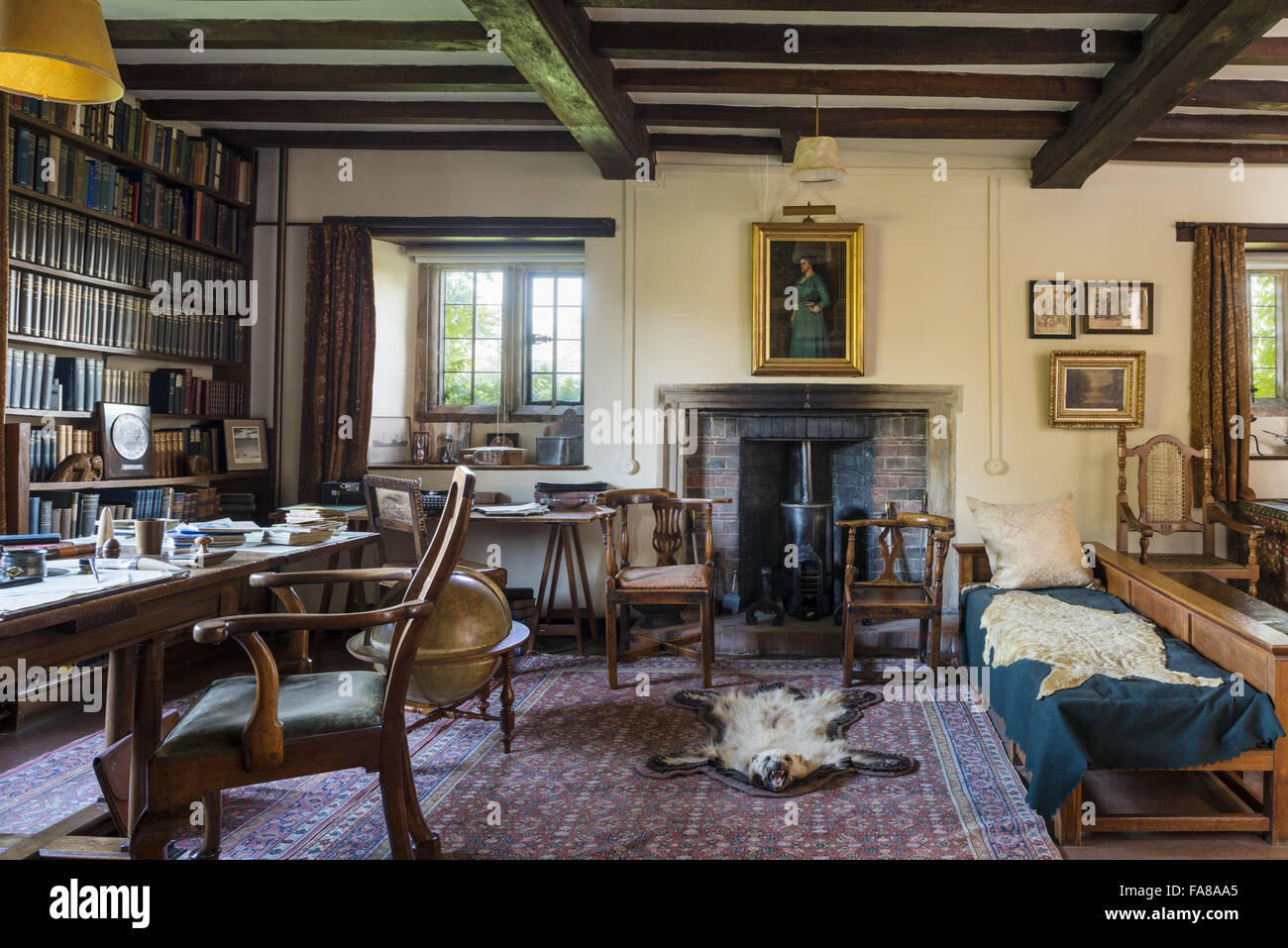 The Study at Bateman's, East Sussex. Bateman's was the home of the writer Rudyard Kipling from 1902 to 1936. Stock Photo