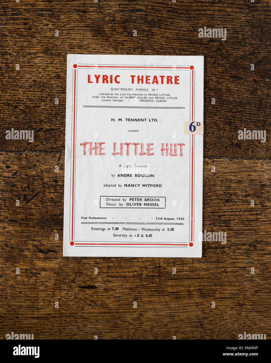 Theatre programme for the 1953 production of Andre Roussin's play 'The Little Hut' (adapted by Nancy - Stock Image
