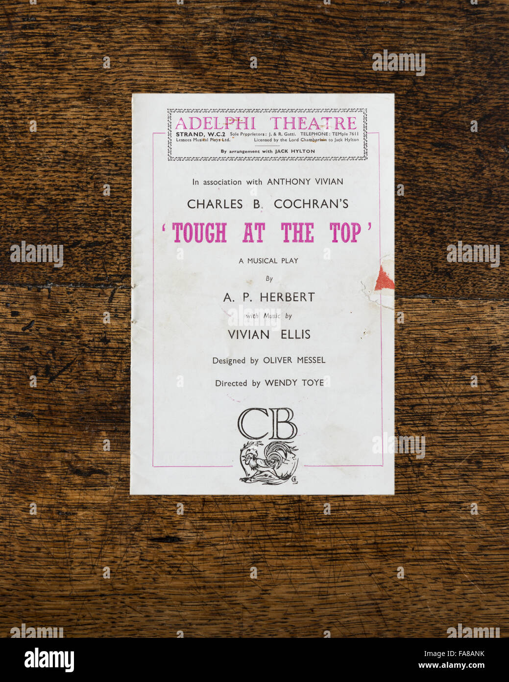 Theatre programme for the 1949 production of Charles B. Cochran's play 'Tough At The Top', from the - Stock Image