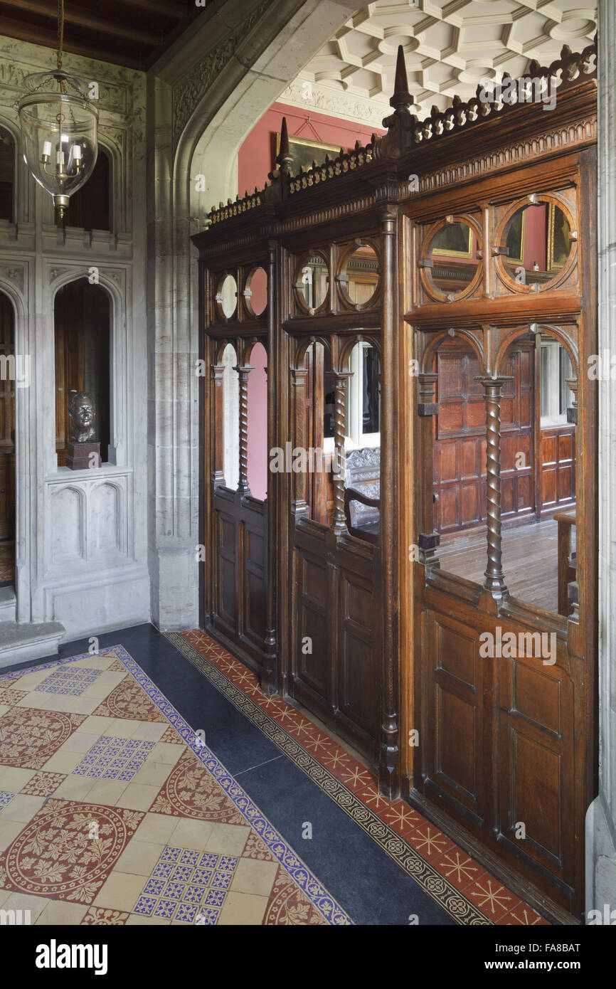 The open-work wooden screen in the Entrance Hall at Gawthorpe Hall, Lancashire. The screen is panelled and arcaded - Stock Image