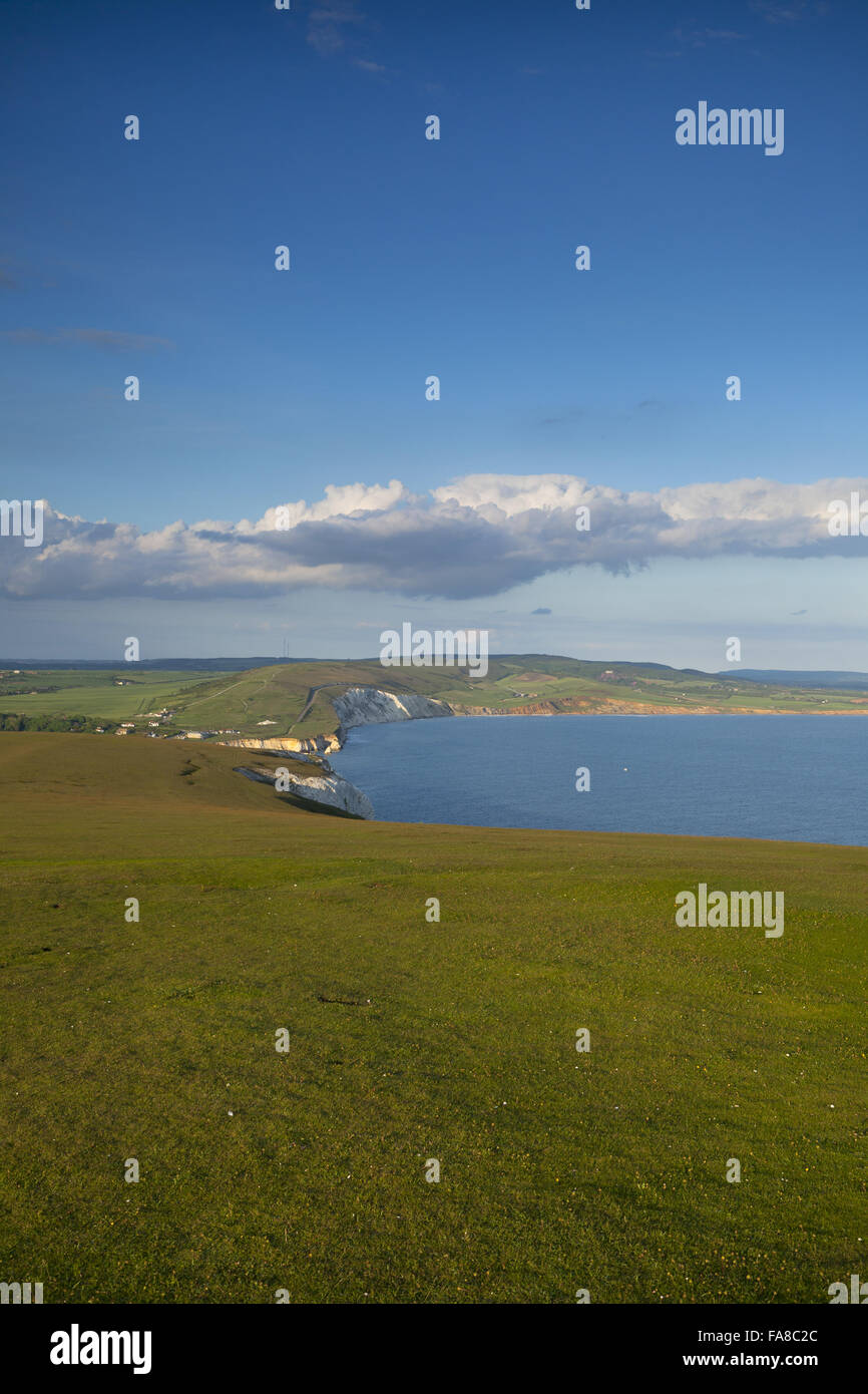View of Compton Bay, Compton Chine and Compton Down from Tennyson Down, Isle of Wight. - Stock Image