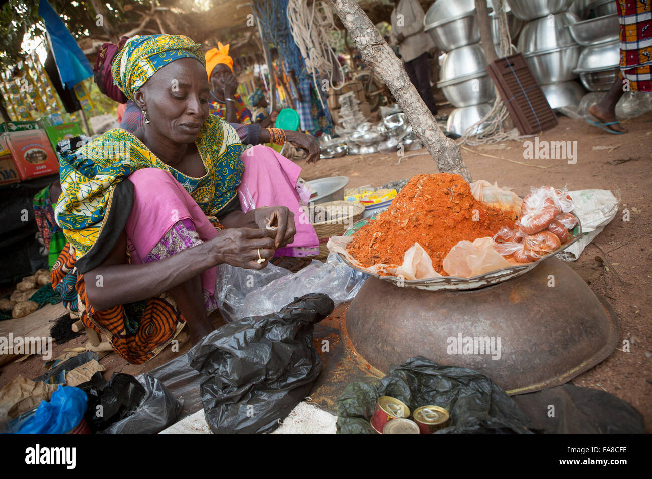 Weekly traditional spice market in Banfora Department, Burkina Faso. - Stock Image
