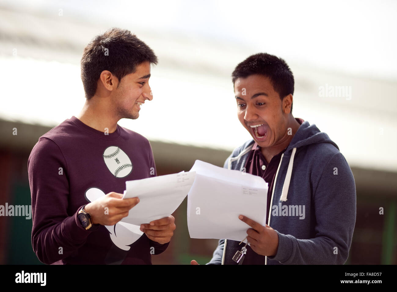 GCSE results at Stretford High School , Stretford , Manchester . - Stock Image