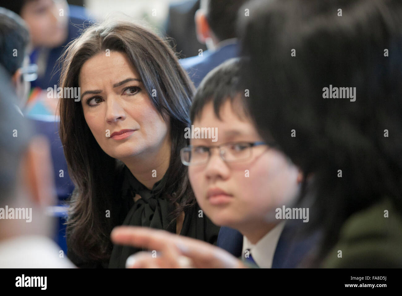 Coronation Street actress Debbie Rush visits a school in Manchester - Stock Image