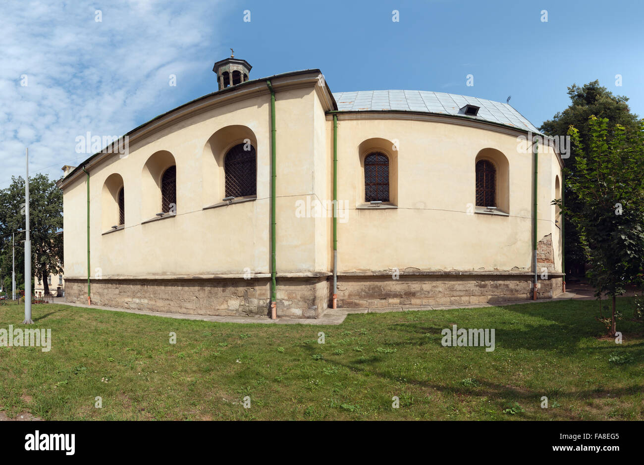 Southern side of Church of Our Lady of Perpetual Help in Lviv, former Church of st. Mary of the Snow  (14th century) - Stock Image