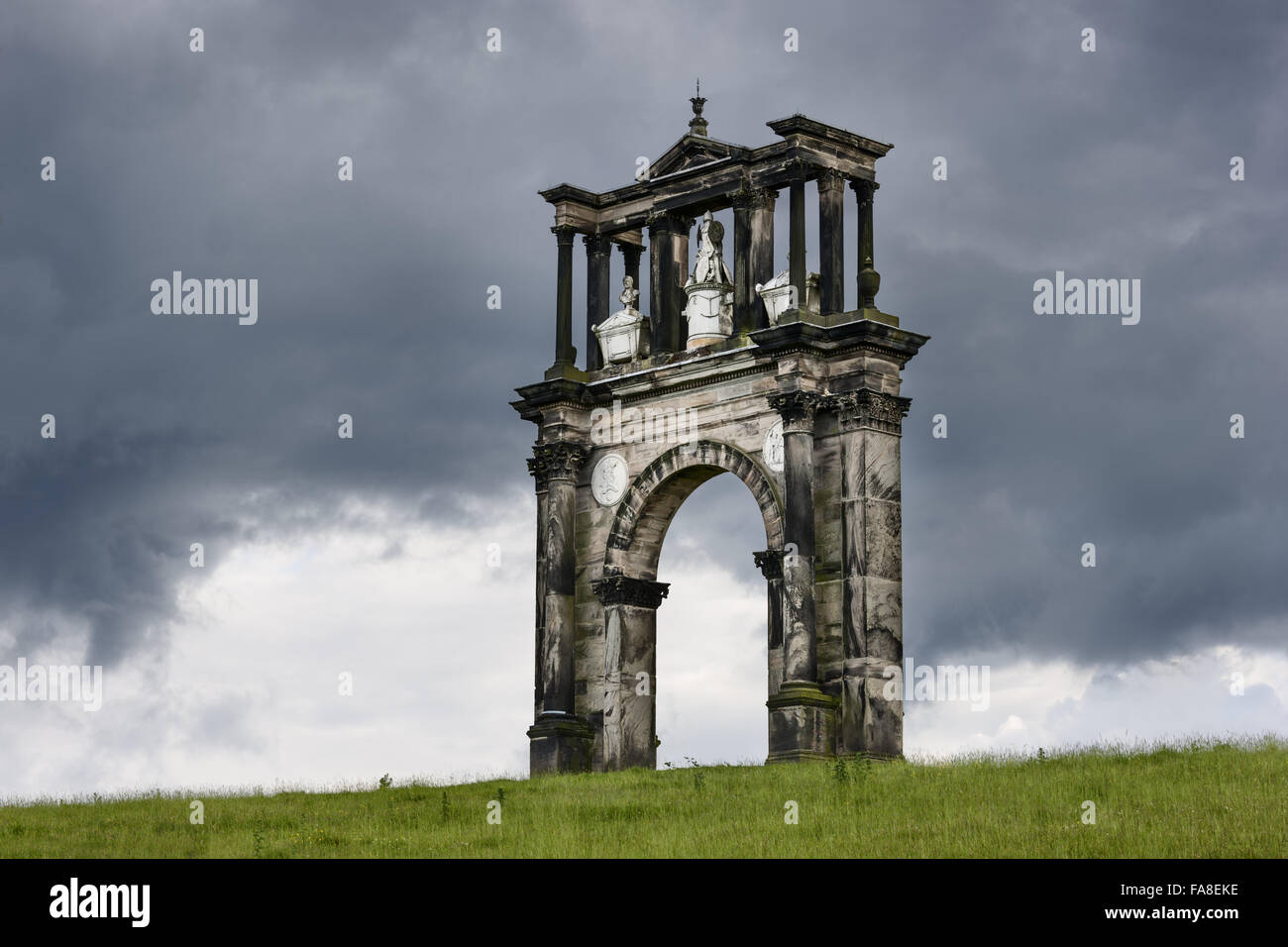 Triumphal Arch on the Shugborough Estate, Staffordshire. This is a copy of the Arch of Hadrian in Athens by 'Athenian' - Stock Image