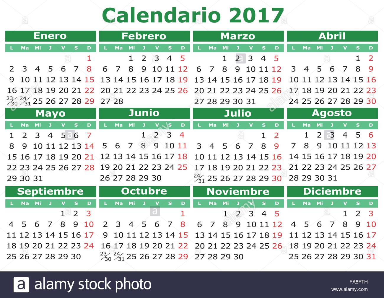 Calendario Vectorizado.2017 Vector Calendar In Spanish Easy For Edit And Apply