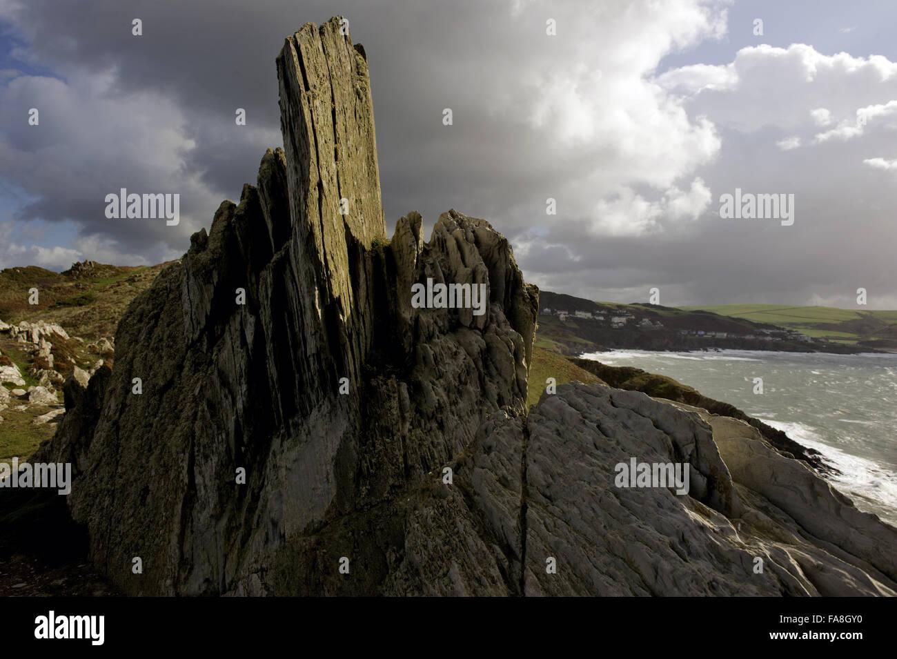 Rocks at Morte Point, North Devon. - Stock Image