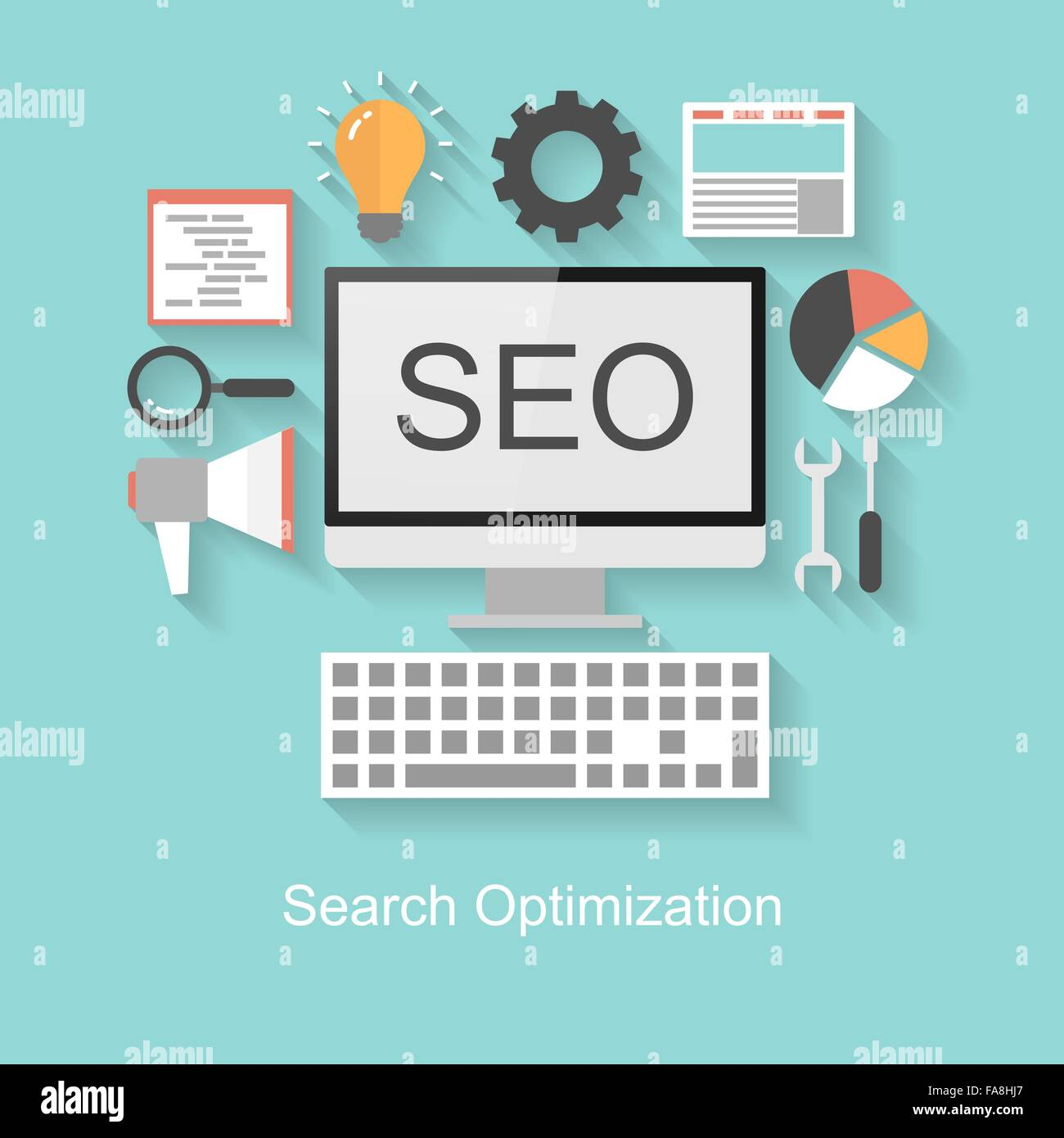 Search optimization concept, flat design with long shadow on turquoise background - Stock Vector