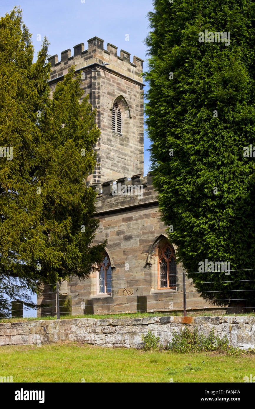 The parish church of St Giles, (not National Trust) situated to the south-west of Calke Abbey, Derbyshire. The earliest - Stock Image