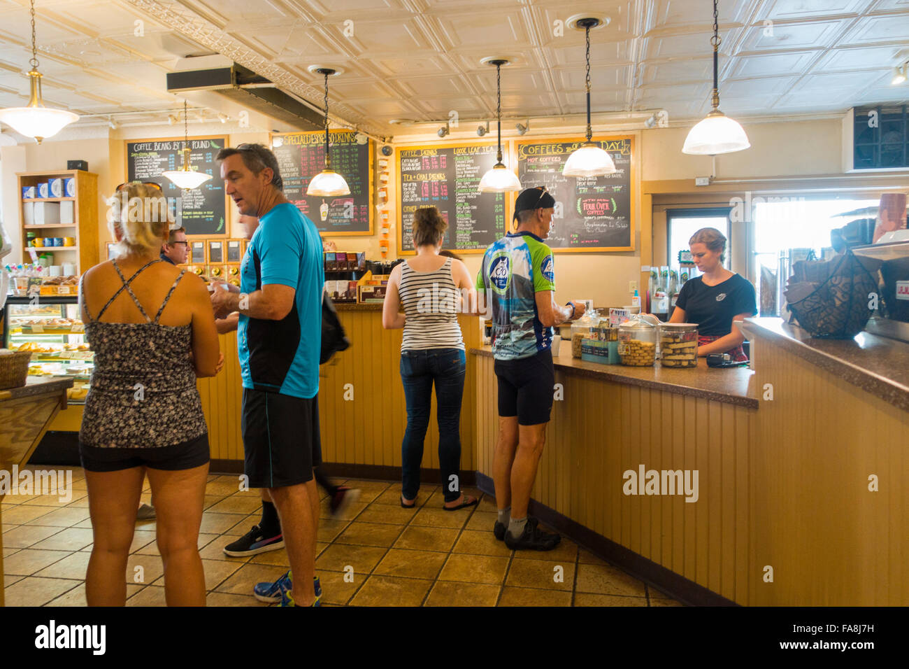 breaking new grounds coffee shop in Portsmouth NH Stock Photo
