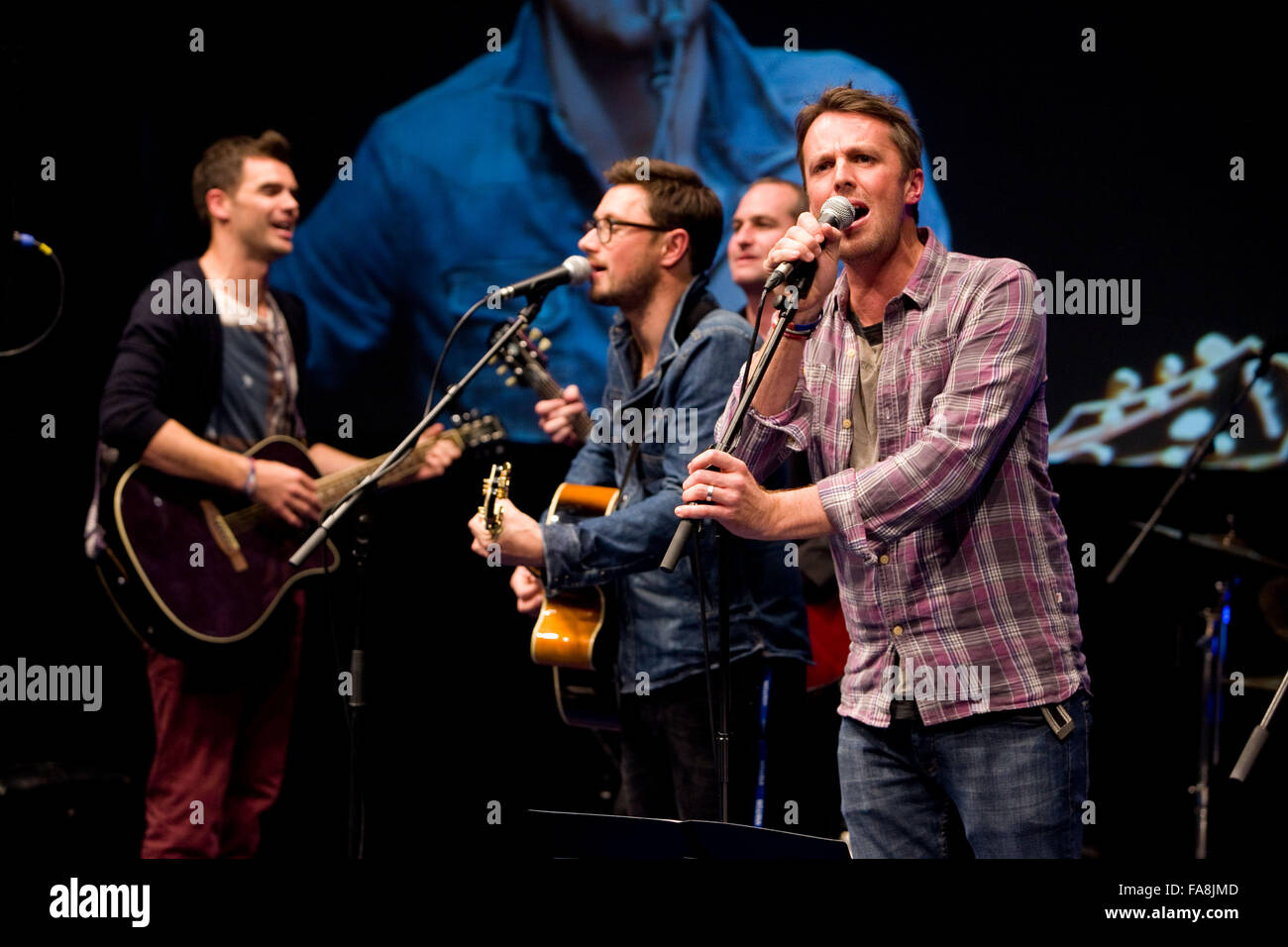BBC Radio 5 Live Octoberfest in Sheffield Thursday James Anderson and Graeme Swann on stage - Stock Image