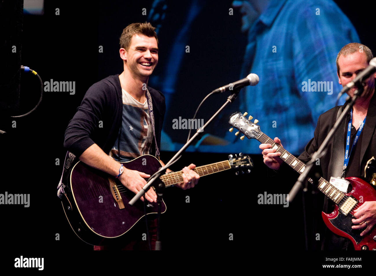 BBC Radio 5 Live Octoberfest in Sheffield Thursday James Anderson plays guitar - Stock Image