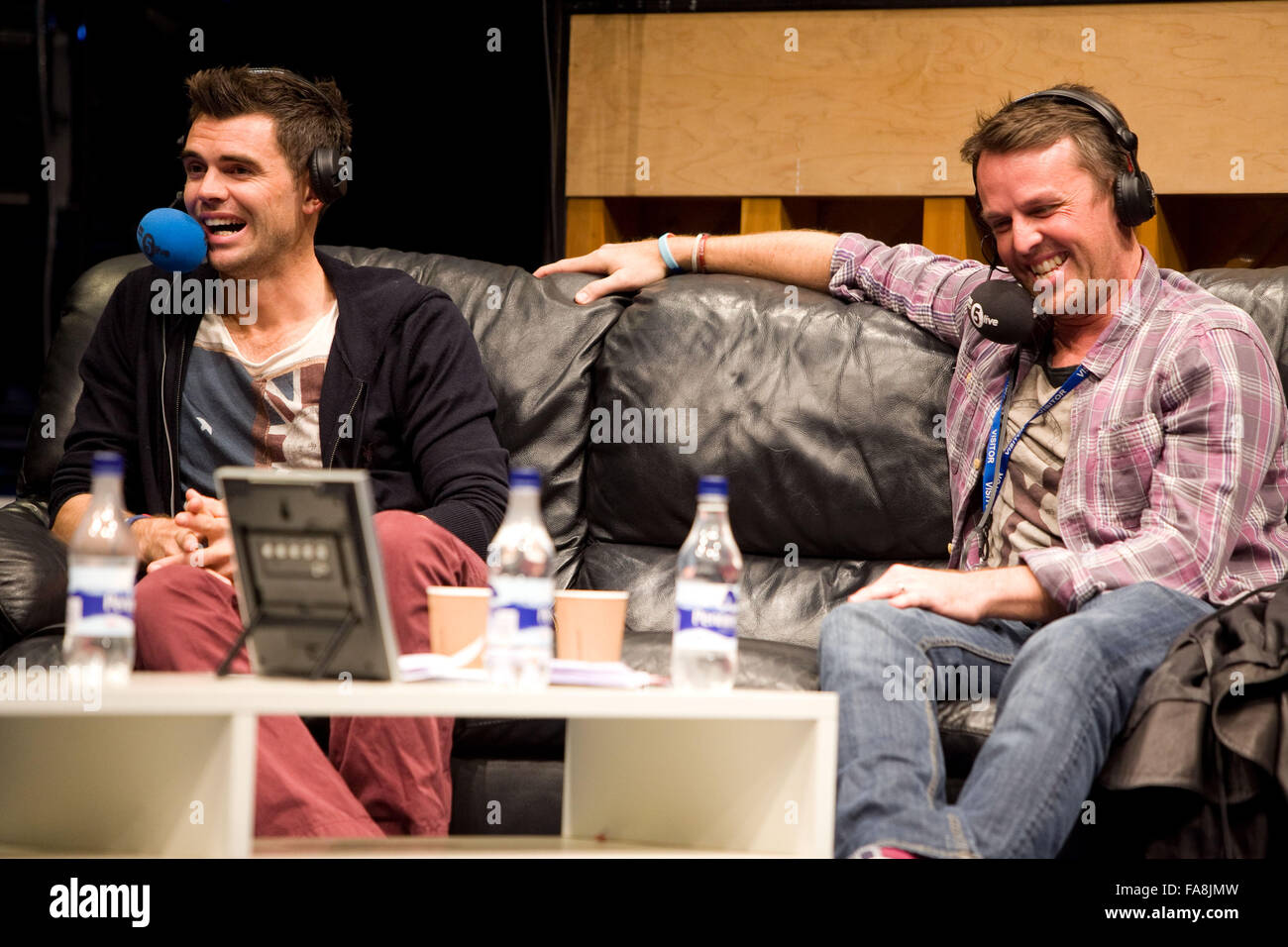 BBC Radio 5 Live Octoberfest in Sheffield Thursday Jimmy James Anderson and Graeme Swann - Stock Image