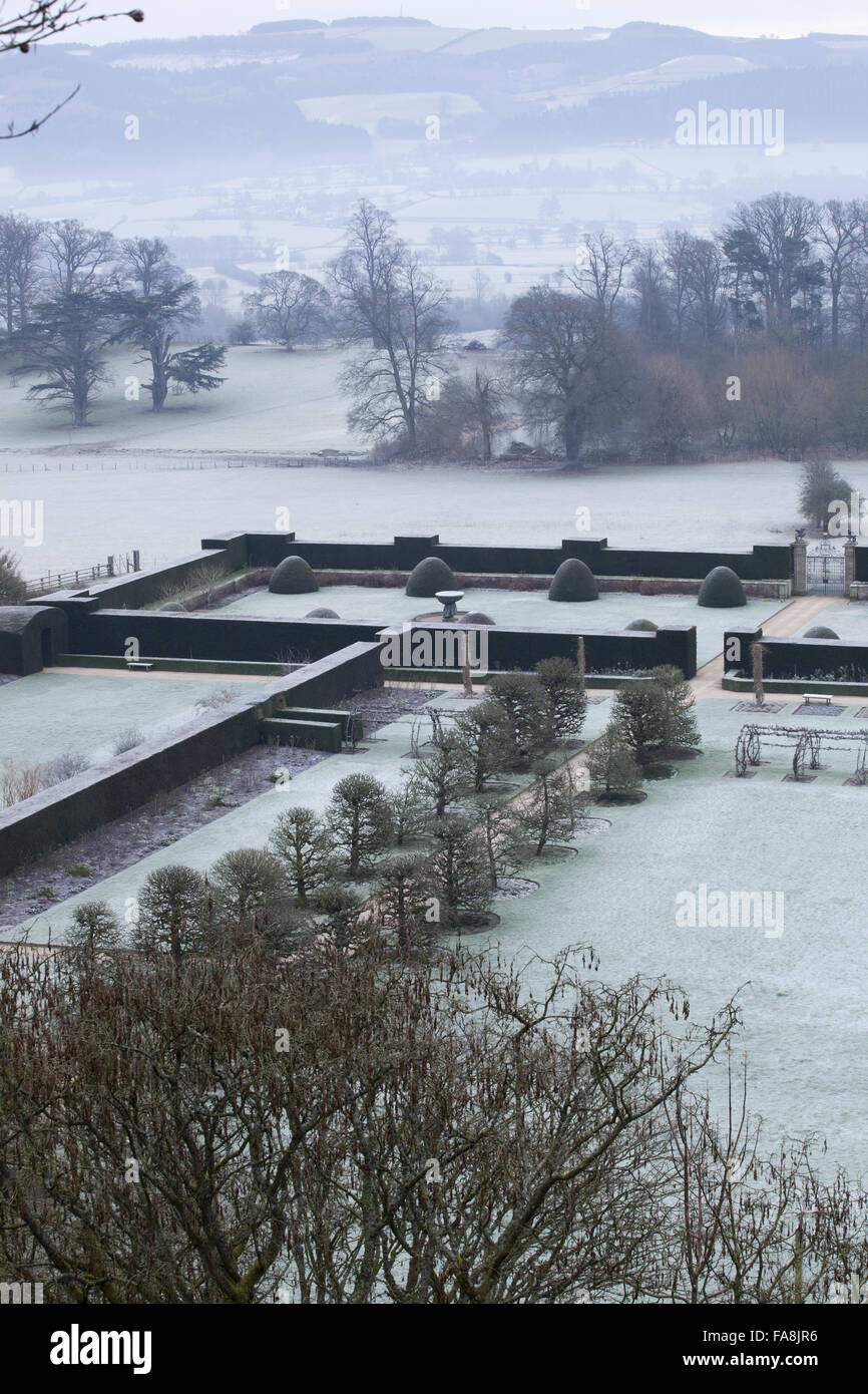 Winter view over the Formal Garden and Fountain Garden at Powis Castle, Welshpool, Powys. - Stock Image