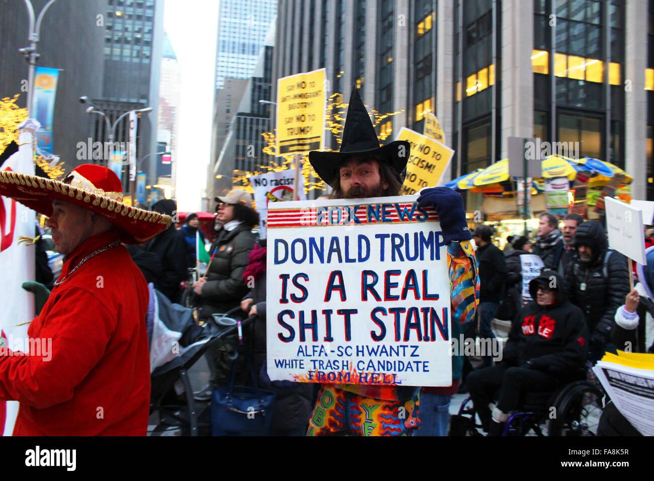 anti trump demonstration new york manhattan fifth avenue - Stock Image
