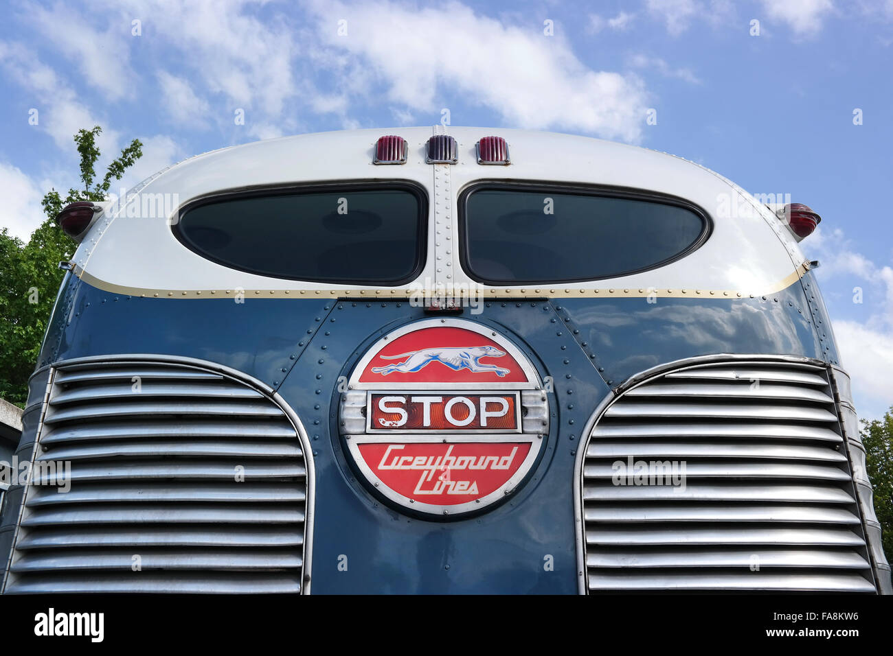 Rear side of an oldtimer Bus of Greyhound Lines. - Stock Image