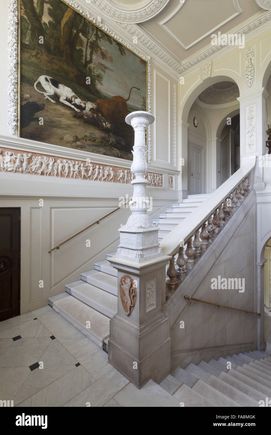 The Marble Staircase At Kingston Lacy, Dorset. The Stairs Were Created In  Carrara Marble By Charles Barry In The 1830s.