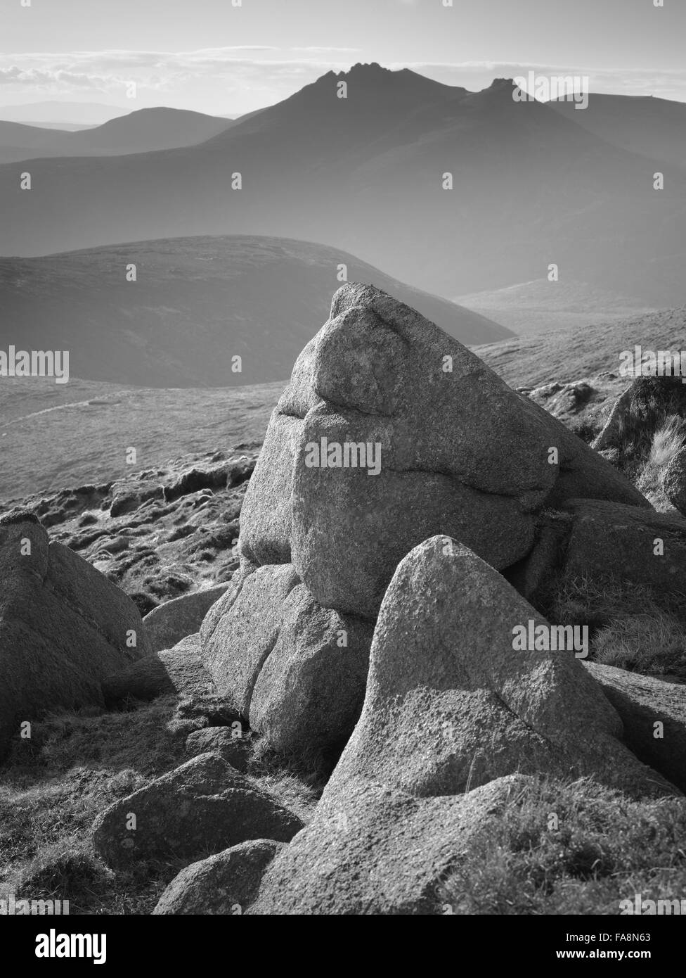 Black and white image of Slieve Donard, Mourne Mountains, County Down, Northern Ireland. Slieve Donard is the highest - Stock Image