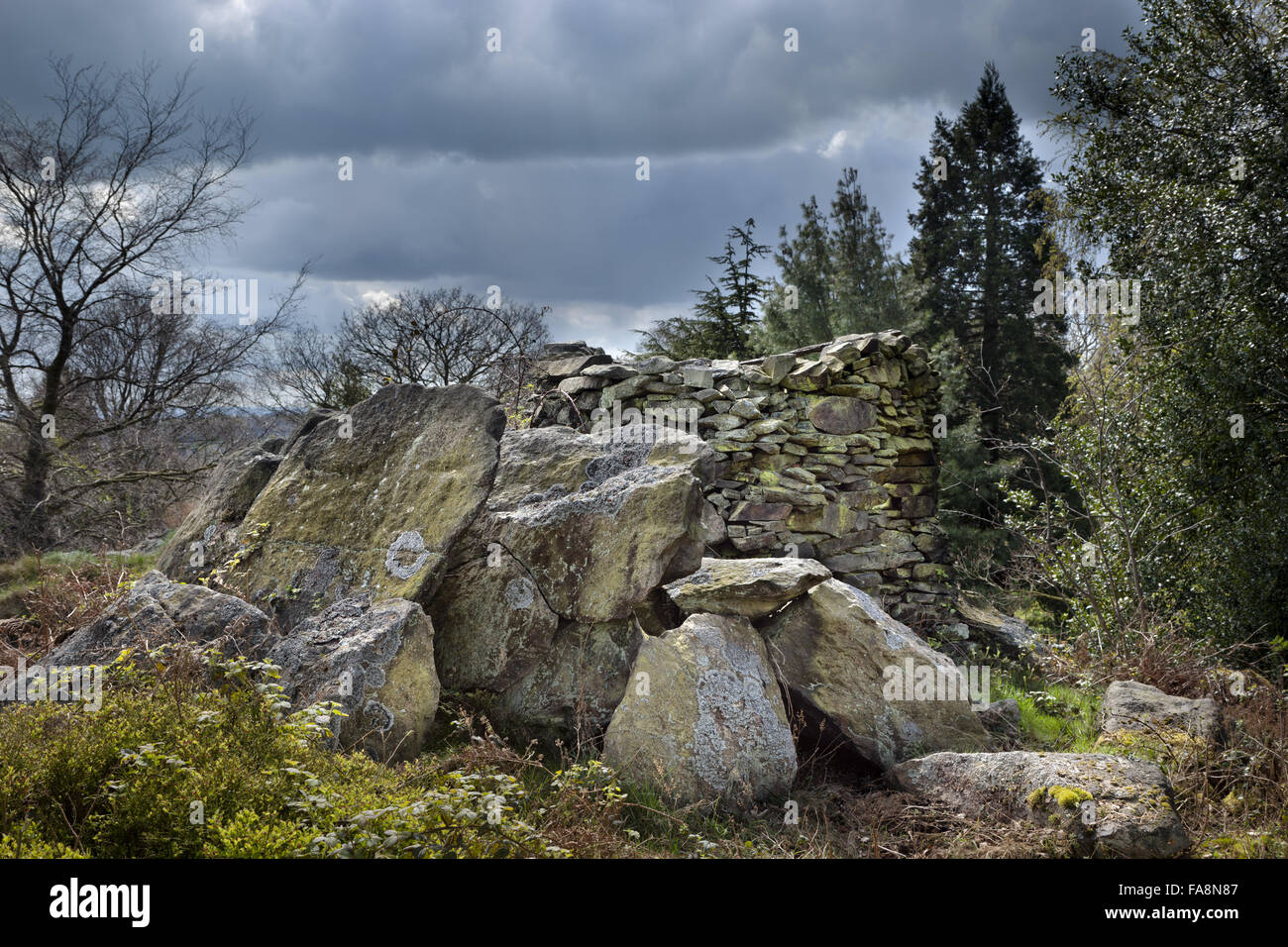 The rocky outcrop and fort at Stoneywell, Leicestershire. - Stock Image