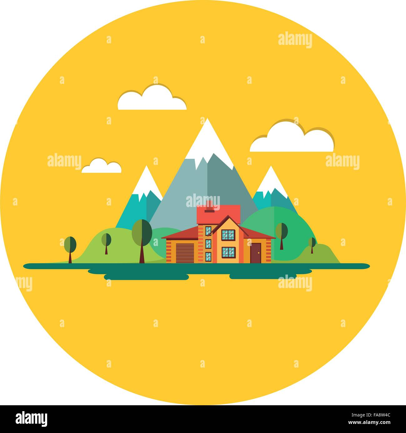 Color vector flat icon set and illustrations urban village landscapes - Stock Vector