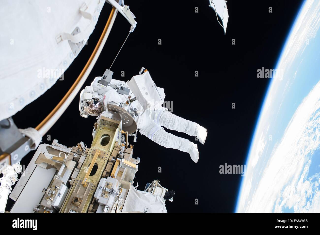 American astronaut Scott Kelly during a 3-hour space walk outside the International Space Station December 21, 2015 - Stock Image