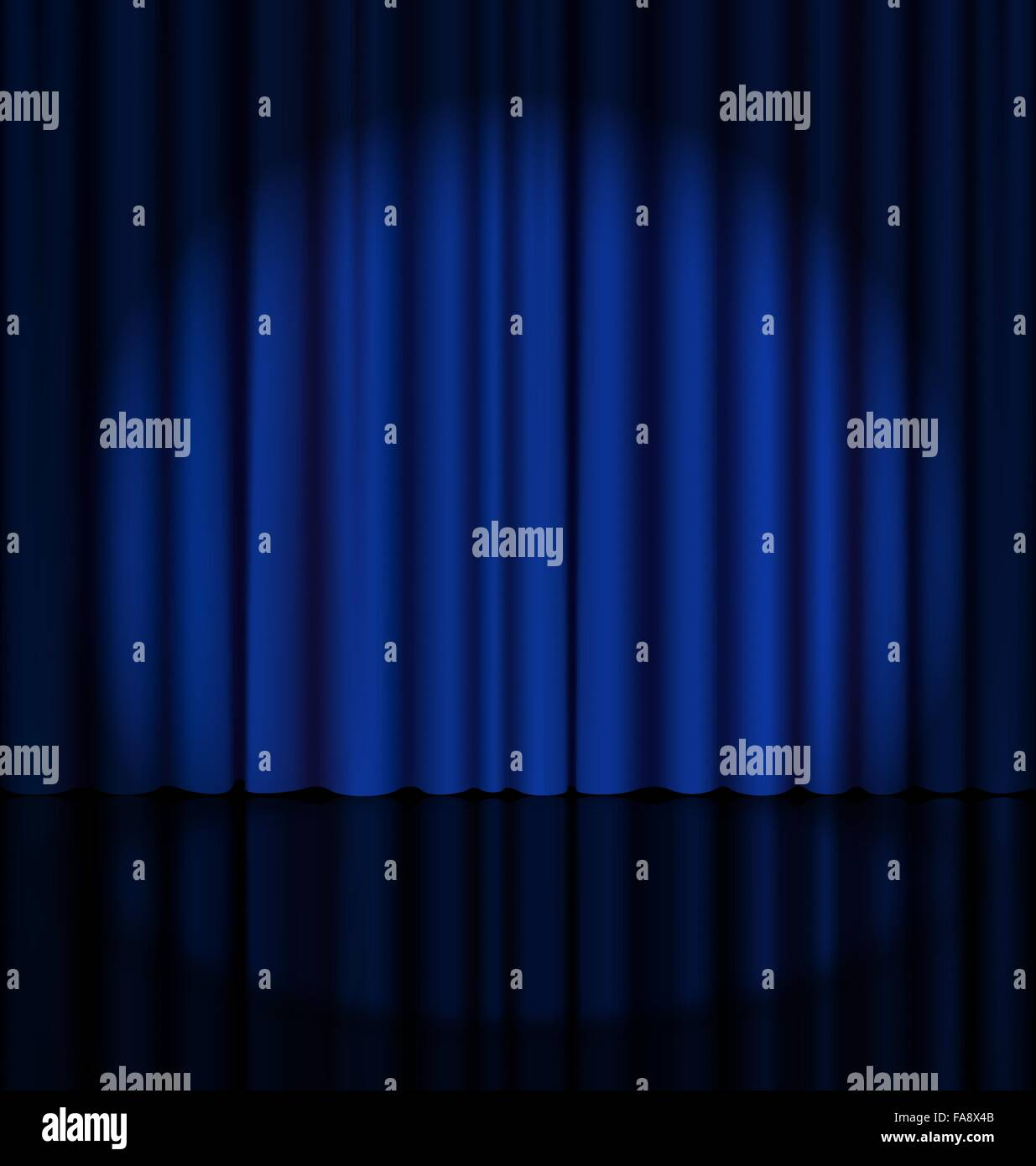 Stage Curtain with Light Spot - Stock Vector