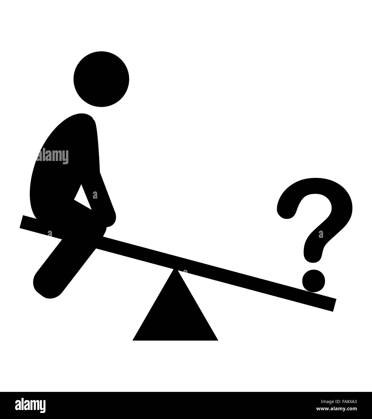 Confusion Man on Swing People with Question Mark Flat Icons Pict - Stock Vector