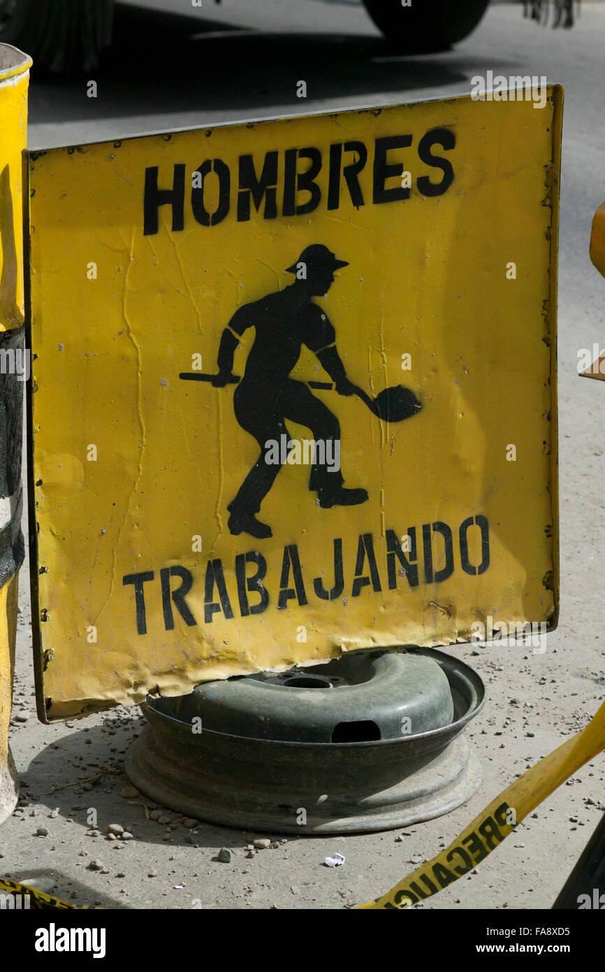 Sign Hombres Trabajando, Men at Work, La Paz, Bolivia, South America - Stock Image