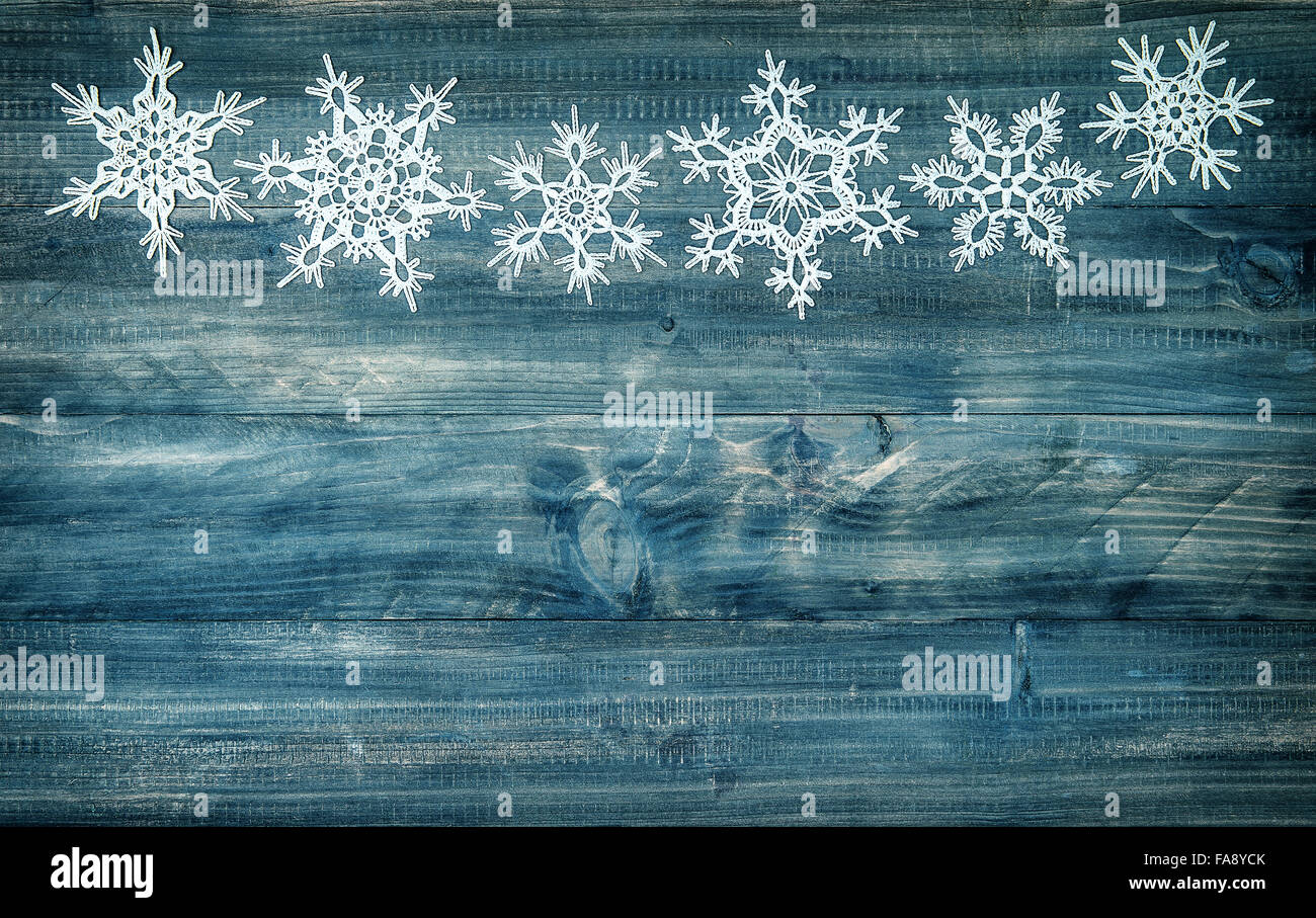 Snowflakes Border Over Rustic Wooden Background Winter Holidays Decoration Vintage Style Toned Picture